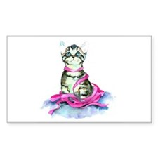 Pink Ribbon Kitty Rectangle Decal