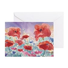 SMLG GUIDEred poppies_w3 sig Greeting Card
