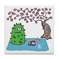 Plant Monster Enjoys Spring Picnic Tile Coaster
