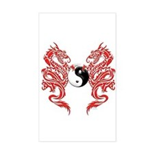 Yin Yang Dragons Rectangle Decal