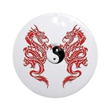 Yin Yang Dragons Ornament (Round)