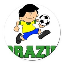 Brazil Soccer Football Round Car Magnet