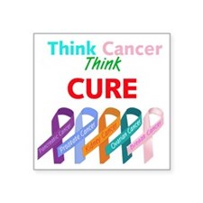 """Think Cancer Think Cure Square Sticker 3"""" x 3"""""""
