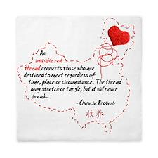 Red Thread on White Queen Duvet