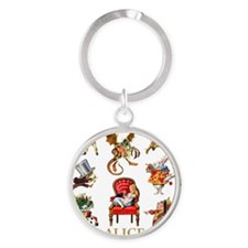 Alice_In Wonderland_GOLD Round Keychain