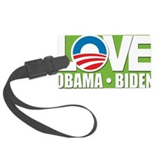 LOVE Obama Green Background Luggage Tag