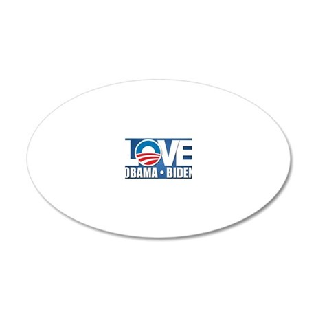 LOVE Obama Biden 20x12 Oval Wall Decal