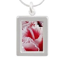 pink tulip kindle Silver Portrait Necklace