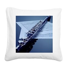 Flute on sheet music, close-u Square Canvas Pillow