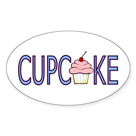 Blue Letters Cupcake Oval Sticker
