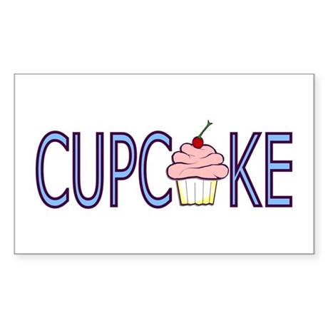 Blue Letters Cupcake Rectangle Sticker