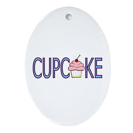 Blue Letters Cupcake Oval Ornament