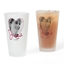 DianaPinkHeart Drinking Glass