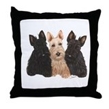 Scottish Terrier - 3 puppies Throw Pillow