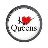 """I Love Queens"" Wall Clock"