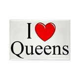 """I Love Queens"" Rectangle Magnet"