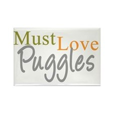 mustlovepuggles_black Rectangle Magnet