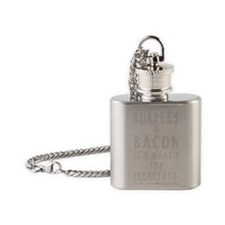 Burpees  Bacon - Black Flask Necklace