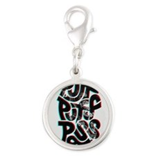 puff puff pass Silver Round Charm
