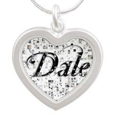 Dale, Matrix, Abstract Art Silver Heart Necklace