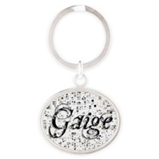 Gaige, Matrix, Abstract Art Oval Keychain