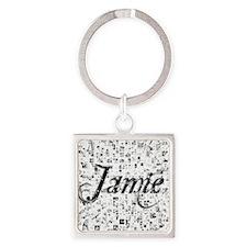 Jamie, Matrix, Abstract Art Square Keychain
