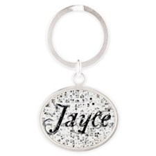 Jayce, Matrix, Abstract Art Oval Keychain