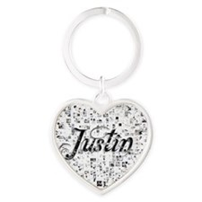Justin, Matrix, Abstract Art Heart Keychain