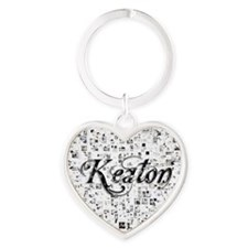 Keaton, Matrix, Abstract Art Heart Keychain