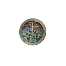 """Chinese Insignia"" MINI BUTTON ~ purple/aqua"