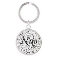 Niko, Matrix, Abstract Art Round Keychain
