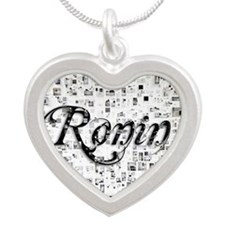 Ronin, Matrix, Abstract Art Silver Heart Necklace