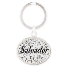 Salvador, Matrix, Abstract Art Oval Keychain