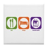 Eat Sleep Social Work Tile Coaster