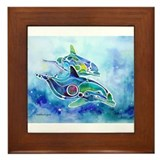 Whimzical Danube Dolphins Framed Tile