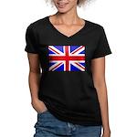 UK Flag Women's V-Neck Dark T-Shirt