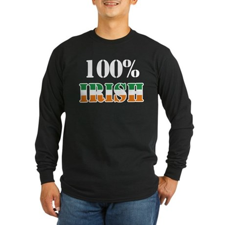 100 Percent Irish Long Sleeve Dark T-Shirt