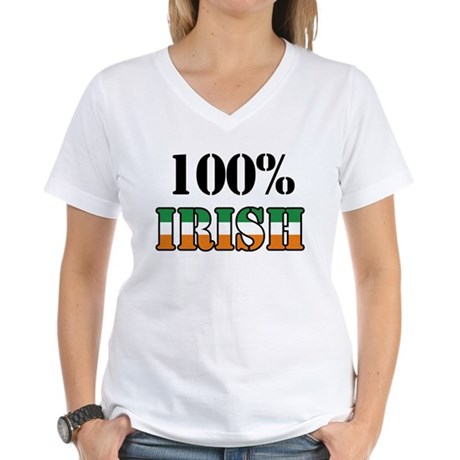 100 Percent Irish Women's V-Neck T-Shirt