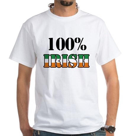 100 Percent Irish White T-Shirt