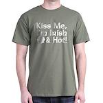 Kiss Me I'm Irish and Hot Dark T-Shirt