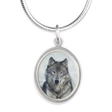 Portrait of gray wolf lying i Silver Oval Necklace