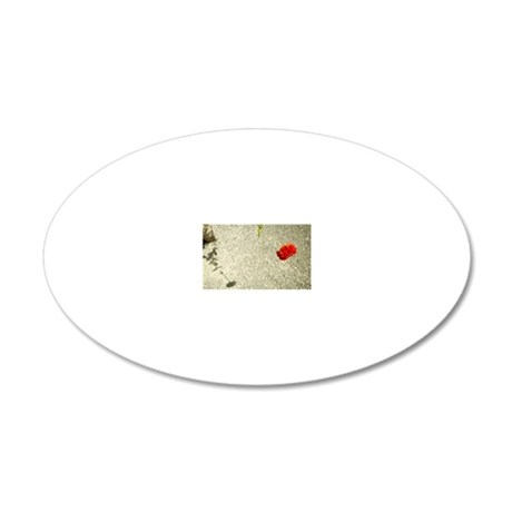 Flower hanging over sidewalk 20x12 Oval Wall Decal