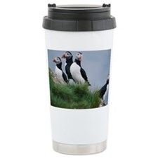 Puffins on hillside Ceramic Travel Mug
