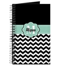 Black White Mint Chevron Personalized Journal
