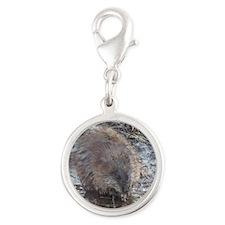 Muskrat Silver Round Charm