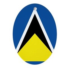Saint Lucia Flag Oval Ornament