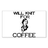 Will Knit for Coffee Rectangle Decal