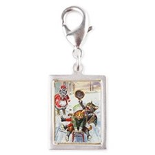 Thiele Cats Sled 1 Silver Portrait Charm