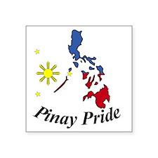 "Pinay Pride Map Square Sticker 3"" x 3"""