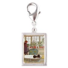 Girl at Window Silver Portrait Charm